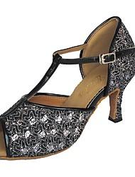 Недорогие -Жен. Обувь для латины Лак На каблуках Каблуки на заказ Персонализируемая Танцевальная обувь Черный / В помещении