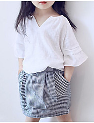 cheap -Girls' Daily Holiday Solid Colored Plaid Clothing Set, Cotton Linen Polyester Summer Half Sleeves Cute Basic White
