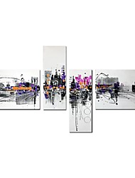 cheap -STYLEDECOR Modern Hand Painted Four Pieces of Abstract Building Oil Painting on Canvas for  Sitting Room or