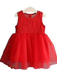 abordables -Robe Fille de Quotidien Vacances Couleur Pleine Fleur Coton Polyester Eté Sans Manches simple Actif Blanc Rouge