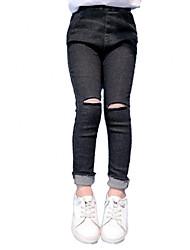 preiswerte -Mädchen Jeans Alltag Solide Baumwolle Polyester Frühling Herbst Ärmellos Retro Freizeit Schwarz