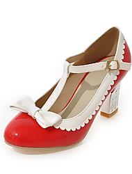 Недорогие -Жен. Обувь Дерматин Весна / Осень С Т-образной перепонкой / Удобная обувь Обувь на каблуках На толстом каблуке Круглый носок Бант Бежевый