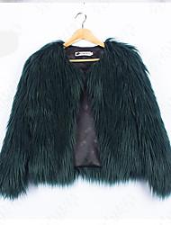 cheap -Women's Basic Fur Coat-Solid Colored,Tassel