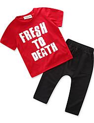 Недорогие -Мальчики Повседневные Спорт С принтом Набор одежды, Хлопок Полиэстер Лето С короткими рукавами Простой На каждый день Красный