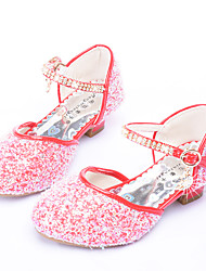 cheap -Girls' Shoes PU Summer Novelty / Flower Girl Shoes Heels Rhinestone / Buckle for Silver / Red / Pink
