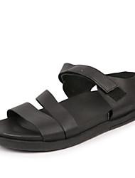 Pánské Obuv Nappa Leather Léto Pohodlné Sandály pro Ležérní Černá