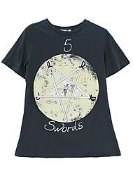 abordables -Mujer Algodón Camiseta Un Color Manga Murciélago