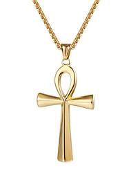 Недорогие -Муж. Ожерелья с подвесками Крест Мода Титановая сталь Титан Сталь Золотой Черный Серебряный Ожерелье Бижутерия Назначение Повседневные Для улицы