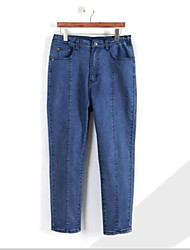 cheap -Women's Cotton Jeans Pants - Solid Colored Basic / Spring / Summer / Holiday