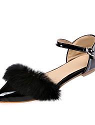 preiswerte -Damen Schuhe Kunstleder Frühling Sommer Pumps Mary Jane Flache Schuhe Flacher Absatz Spitze Zehe für Hochzeit Normal Schwarz Beige Grau