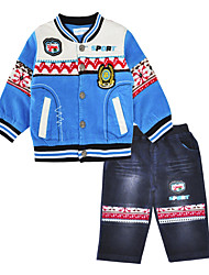 cheap -Boys' Daily Sports Print Clothing Set, Cotton Spring Fall Long Sleeves Casual Blue