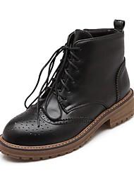 preiswerte -Damen Schuhe Kunstleder Winter Springerstiefel Stiefeletten Stiefel Niedriger Heel Runde Zehe Booties / Stiefeletten für Normal Schwarz
