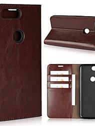 billiga -fodral Till OnePlus 5 / OnePlus 5T Plånbok / Korthållare / Stötsäker Fodral Enfärgad Hårt Äkta Läder för One Plus 5 / OnePlus 5T / One Plus 3