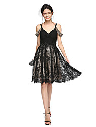cheap -A-Line Straps Knee Length Chiffon / Lace Little Black Dress Cocktail Party / Prom Dress with Beading / Criss Cross / Ruched by TS Couture®
