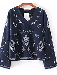 cheap -Women's Holiday Vintage Cotton Shirt - Floral, Embroidered V Neck