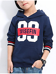 cheap -Boys' Daily Geometric Hoodie & Sweatshirt, Polyester Spring Long Sleeves Active Navy Blue