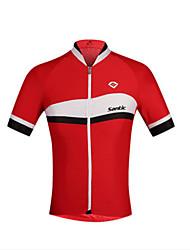 baratos -SANTIC Homens Manga Curta Camisa para Ciclismo - Vermelho / Azul Moto Camisa / Roupas Para Esporte Elastano