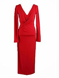 baratos -Mulheres Para Noite / Trabalho Moda de Rua Algodão Skinny Evasê / Tubinho / Bainha Vestido Sólido Decote V Cintura Alta Médio / Primavera / Outono