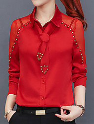 cheap -Women's Sexy Street chic Shirt - Solid Colored, Beaded Shirt Collar