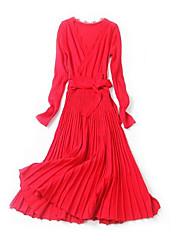 abordables -Femme Vacances Mince Gaine Robe - Noeud, Couleur Pleine Taille haute Col en V Midi / Printemps