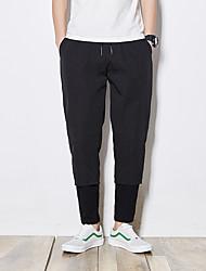 cheap -Men's Active Plus Size Cotton Linen Harem Pants - Solid Colored Pleated