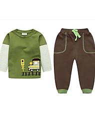 abordables -Garçon Quotidien Couleur Pleine Ensemble de Vêtements, Coton Lin Fibre de bambou Acrylique Printemps Manches Longues Actif Vert