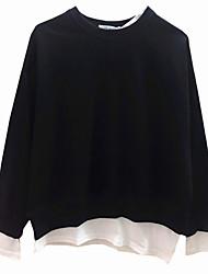 Недорогие -женский длинный рукав футболка - цветной блок