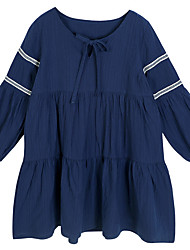 cheap -Kids Girls' Simple / Casual Holiday Solid Colored Long Sleeve Dress / Cotton