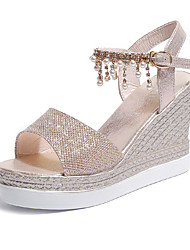cheap -Women's Shoes PU(Polyurethane) Spring / Summer Comfort Heels Wedge Heel Open Toe Beading Gold / Silver