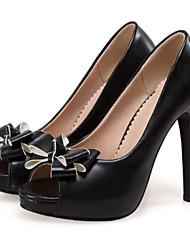 abordables -Mujer Zapatos PU Primavera / Otoño Confort / Innovador Tacones Tacón Stiletto Punta abierta Pajarita Blanco / Negro / Rosa