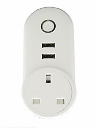 cheap -1pack Smart Plug ABS PC Plug-in Voice Control WiFi-Enabled Control Your Fixture From Anywhere Compatible Device with USB Ports Timing