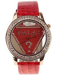 お買い得  -JUBAOLI 女性用 ファッションウォッチ ダイヤモンドウォッチ クォーツ レザー レッド カジュアルウォッチ クール ハンズ レディース - レッド