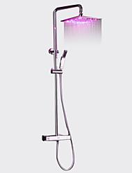 abordables -Moderne Système de douche Thermostatique LED Soupape céramique Chrome, Robinet de douche