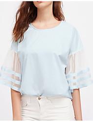 preiswerte -Damen Einfarbig-Grundlegend T-shirt Gitter
