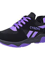cheap -Women's Shoes PU Winter Comfort Athletic Shoes Hiking Shoes Flat Heel Round Toe for Casual Outdoor Black and Purple Pink Black/White