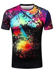 billige -Rund hals Tynd Herre - Geometrisk Gade T-shirt / Kortærmet