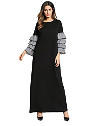 baratos -Mulheres Básico / Boho Solto / balanço Vestido - Frufru, Listrado Longo Preto