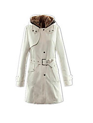 cheap -Women's Long Padded - Solid Color Hooded