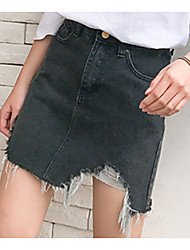 cheap -Women's Plus Size Denim A Line Skirts - Solid Colored Hole