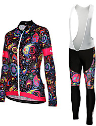 cheap -Women's Long Sleeves Cycling Jersey with Tights - White Black Floral / Botanical Bike Bib Tights Tights Jersey, Quick Dry, Spring