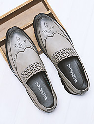 baratos -Homens sapatos Couro de Porco Verão Conforto Mocassins e Slip-Ons Preto / Cinzento
