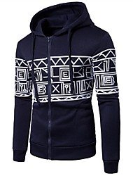 cheap -Men's Long Sleeve Slim Hoodie - Geometric Hooded / Please choose one size larger according to your normal size.