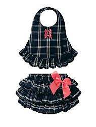 abordables -bébé Ensemble de Vêtements Fille Quotidien Vacances Tartan Coton Eté Sans Manches Décontracté Rose Claire Bleu royal