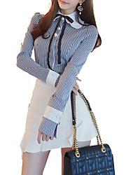 abordables -Mujer Trabajo Delgado Camisa Cuello Camisero Falda