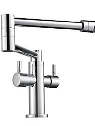 preiswerte -Armatur für die Küche - Zwei Griffe Ein Loch Chrom Standard Spout Becken Moderne Kitchen Taps