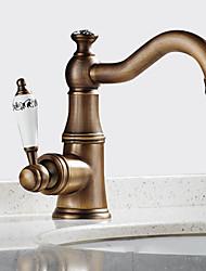 abordables -Antique Montage Rotatif Soupape céramique Mitigeur un trou Laiton Antique, Robinet lavabo
