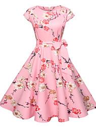 Недорогие -Жен. На выход Активный Классический Хлопок Тонкие С летящей юбкой Платье - Цветочный принт, С принтом До колена