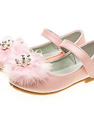 baratos -Para Meninas sapatos Courino Primavera Outono Sapatos para Daminhas de Honra Bailarina Rasos Penas Gliter com Brilho Velcro para