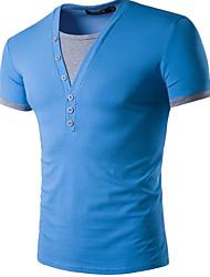 cheap -Men's Cotton T-shirt - Color Block V Neck
