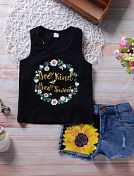 cheap -Girls' Daily Holiday Floral Print Patchwork Clothing Set, Cotton Polyester Spring Summer Sleeveless Cute Active Black